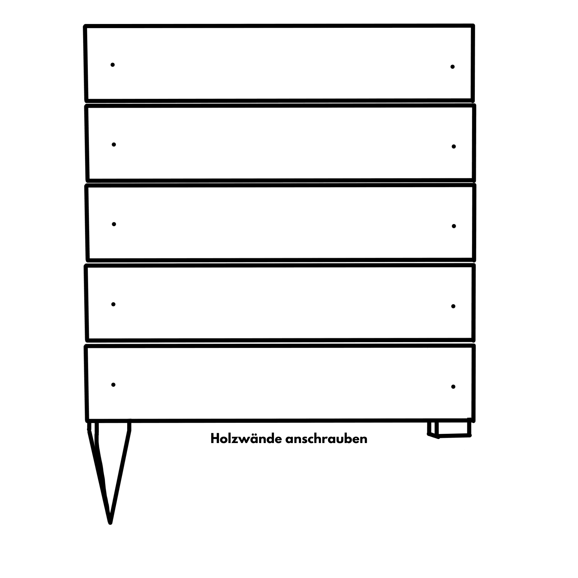 Hochbeet bauen: Wände anbringen